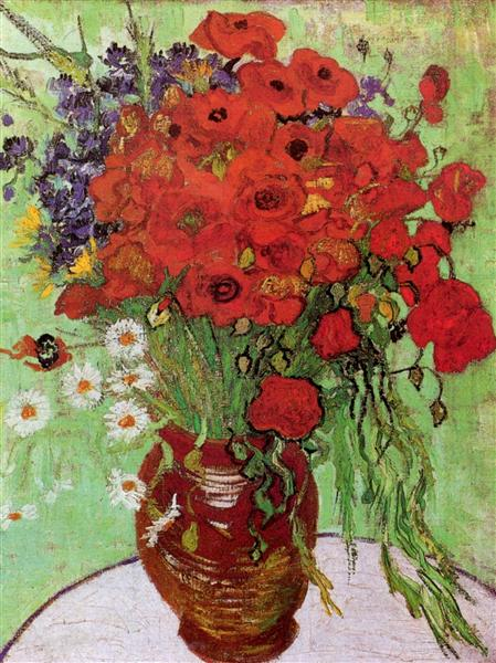 Red Poppies And Daisies 1890 Vincent Van Gogh Wikiart Org