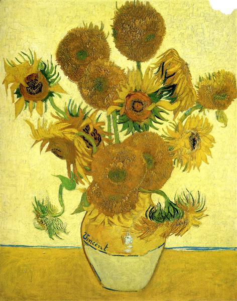Still Life - Vase with Fifteen Sunflowers, 1888 - Винсент Ван Гог