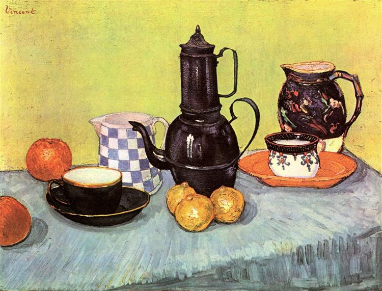 Still Life with Blue Enamel Coffeepot, Earthenware and Fruit, 1888 - Vincent van Gogh