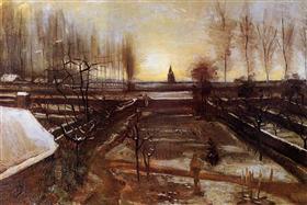 El Jardín del Parsonage en Nuenen en la nieve, Vincent van Gogh
