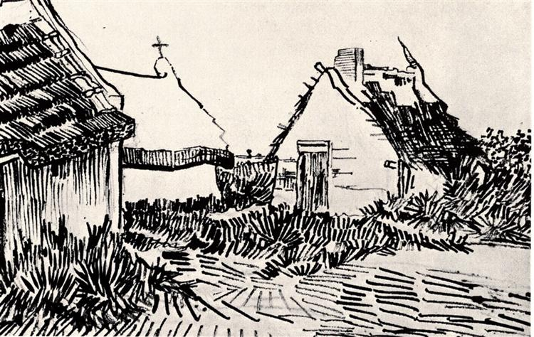 Three Cottages in Saintes-Maries, 1888 - Vincent van Gogh