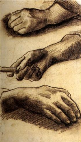 Tres manos, Vincent van Gogh