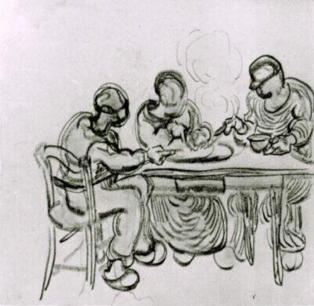 Three peasants at a meal, by Pablo Picasso (via WikiPaintings)