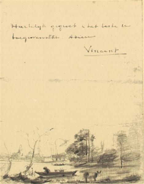 Town d'Avray: L'Etang au Batelier, 1875 - Вінсент Ван Гог