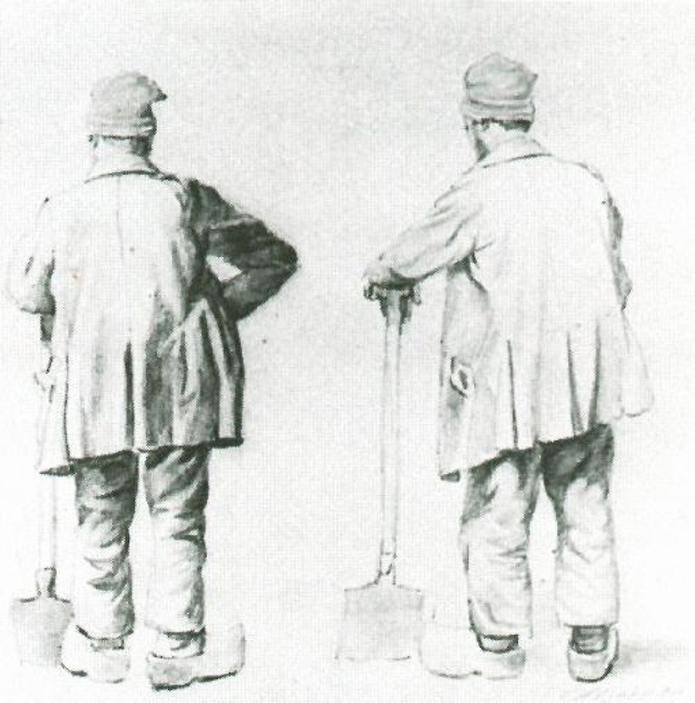 Two Sketches of a Man Leaning on His Spade, 1867