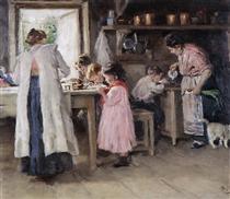 At the kitchen - Vladímir Makovski