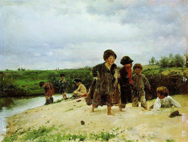 From the rain, 1887 - Vladimir Makovsky