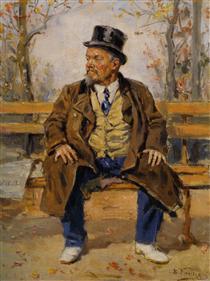 Portrait of a man sitting on a park bench - Vladímir Makovski