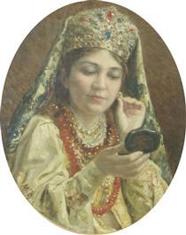 Young Lady Looking into a Mirror - Vladímir Makovski