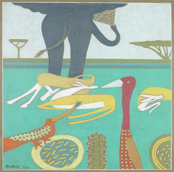 Elephant and other animals, 1977 - Walter Battiss