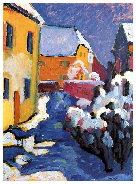 Cemetery and vicarage in Kochel, 1909 - Wassily Kandinsky