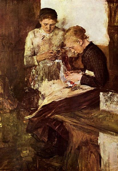 Strickende Mädchen auf der Ofenbank, 1895 - Wilhelm Leibl