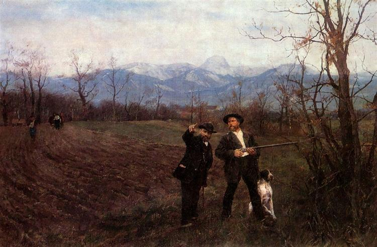 Wilhelm Leibl and Sperl on the hunt, 1895 - Wilhelm Leibl