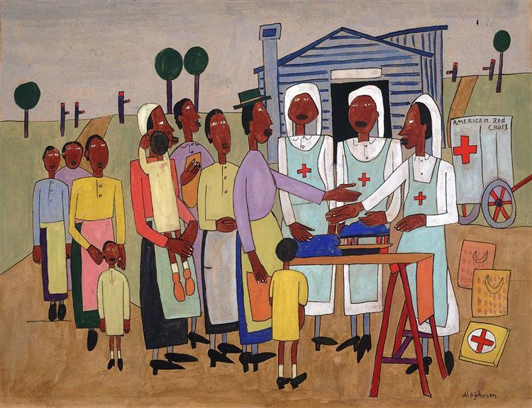 Red Cross Nurses Handing out Wool for Knitting, 1942 - William H. Johnson