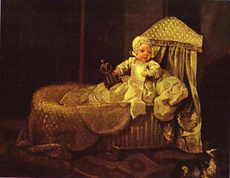 Gerard Anne Edwards in His Cradle, 1733 - William Hogarth