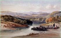 A River Landscape, possibly Near the Lago Maggiore - Вільям Лейтон Лейтч