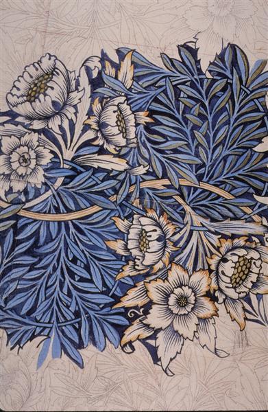 Design for Tulip and Willow indigo-discharge wood-block printed fabric, 1873 - William Morris