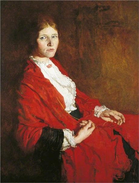 The Red Scarf - William Orpen