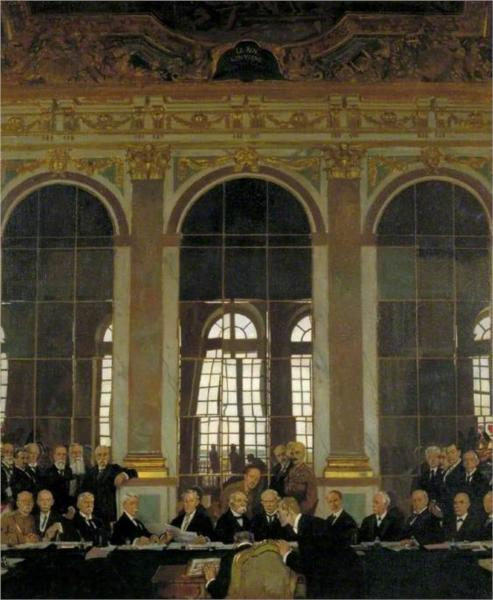 The Signing of Peace in the Hall of Mirrors, Versailles, 28 June 1919, 1919 - William Orpen
