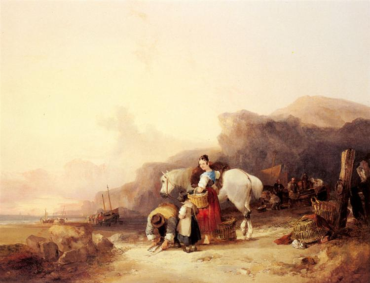 Unloading The Catch, Near Benchurch, Isle - William Shayer