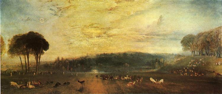 The Lake, Petworth sunset, fighting bucks - Turner William