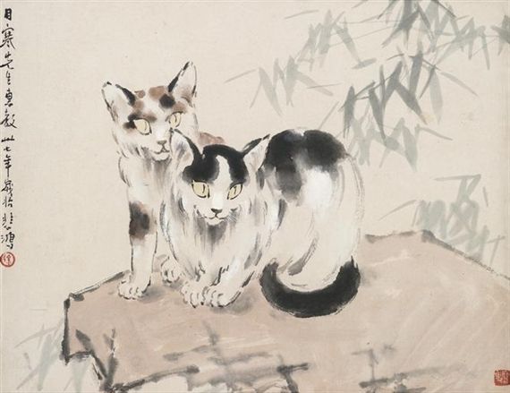 Cats on Rock, 1948 - Xu Beihong