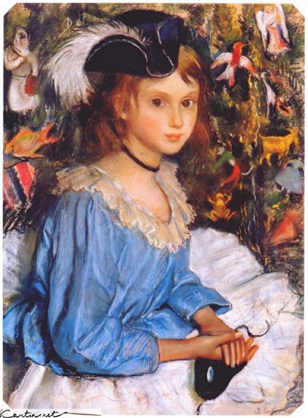 Katya in blue dress by christmas tree, 1922 - Zinaida Serebriakova