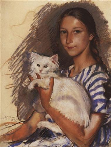 Portrait of Natasha Lancere with a cat  - Zinaida Serebriakova