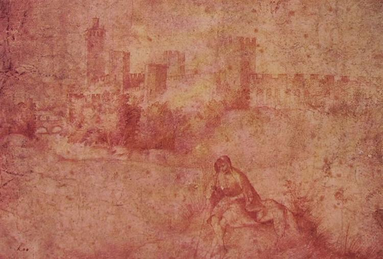 View of Castelfranco and shepherd - Giorgione